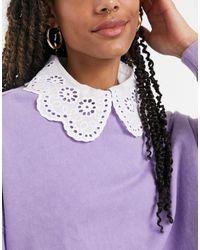 ASOS Broderie Frill Collar - White