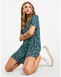 Motel Зеленое Чайное Платье Мини С Пуговицами Спереди И Цветочным Принтом -зеленый Цвет