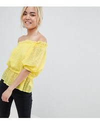 d249cf0035534 Lost Ink - Bardot Top In Textured Fabric - Lyst