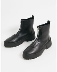 ASOS Azure Chunky Front Zip Boots - Black