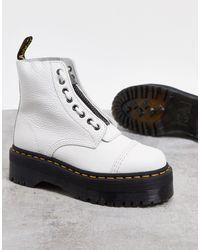 Dr. Martens Белые Кожаные Ботинки На Платформе С Молнией -белый