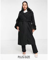 UNIQUE21 Hero Черное Пальто Из Искусственного Меха С Поясом Unique21 Plus-черный Цвет