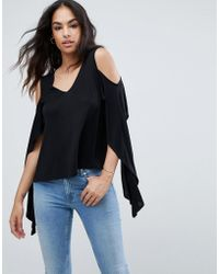 ASOS - Top With Cold Shoulder And Dramatic Ruffle - Lyst