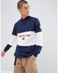 DC Shoes - Cut & Sew Rugby Shirt In Navy - Lyst