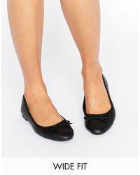 New Look Leather Look Ballet Pump - Black