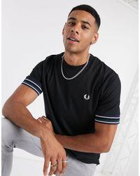 Fred Perry Striped Cuff T-shirt - Black