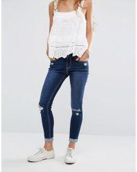 Hollister - High Waisted Crop Jeans With Raw-cut Hem - Lyst