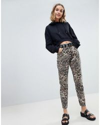 ASOS Ritson Rigid Mom Jeans In Abstract Leopard Print - Multicolour