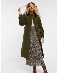 TOPSHOP Trench-coat en tissu bouclé - Kaki - Vert