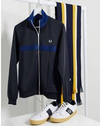 Fred Perry Chest Panel Track Jacket - Blue