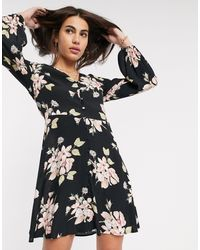 Warehouse Floral Print Tea Dress With Button Front - Black