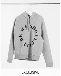 Reclaimed (vintage) Inspired Unisex Quilted Hoodie With Logo - Grey