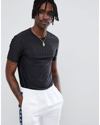 ASOS - Muscle Fit Longline T-shirt In Sheer Mesh Rib - Lyst