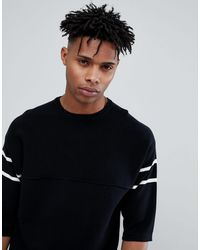 Only & Sons Knitted Short Sleeve Sweatshirt With Stripe - Black
