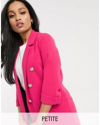River Island Blazer long à boutons style militaire - Rose