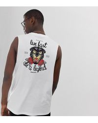 e51088557c1b ASOS - Tall Sleeveless T-shirt With Dropped Armhole With Chest And Back  Black Leopard