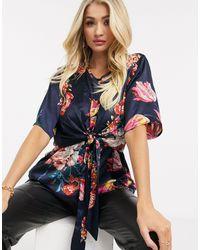 AX Paris Блузка С Цветочным Принтом И Узлом Спереди -темно-синий