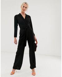 ASOS Long Sleeve Tux Jumpsuit With Pocket Detail - Black