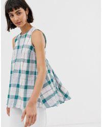 ASOS Green Check Sleeveless Swing Top