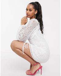 NA-KD Detailed Lace Mini Dress - White