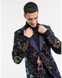 ASOS Super Skinny Velvet Blazer With Sequin Floral - Blue
