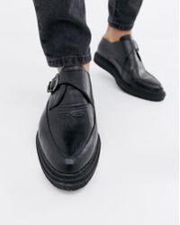 Truffle Collection Buckle Monk Shoe - Black