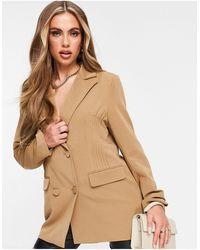 4th & Reckless Stitch Detail Oversized Blazer Dress - Natural