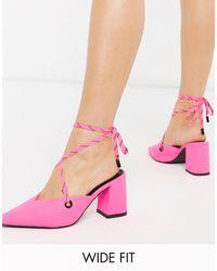 ASOS Ярко-розовые Туфли На Каблуке Для Широкой Стопы - Розовый