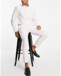 Moss Bros Moss London Linen Look Trousers - Pink