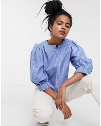 & Other Stories Stripe Puff Sleeve Blouse - Blue