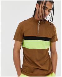 ASOS T-shirt Met Col Met Rits En Contrasterend Neon Vlak - Meerkleurig