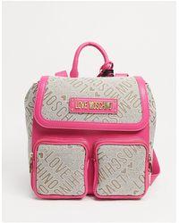 Love Moschino Бежево-розовый Жаккардовый Рюкзак С Двумя Карманами -коричневый Цвет