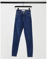 TOPSHOP – Jamie – Eng geschnittene Jeans - Blau