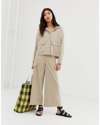Monki Wide Leg Cargo Trousers With Pockets - Natural