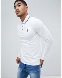 Replay - Logo Long Sleeve Polo With Tipped Collar In White - Lyst