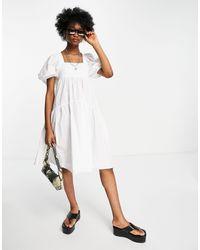 TOPSHOP Белое Ярусное Платье Из Поплина До Колена -белый