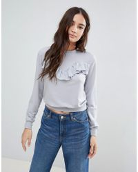 Glamorous - Frill Detail Sweatshirt - Lyst