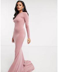Club L London Open Back Fishtail Maxi Dress - Pink