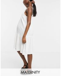 GeBe Maternity Cami Midi Dress - White