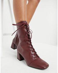 Monki Бордовые Ботинки На Каблуке Со Шнуровкой Из Искусственной Кожи Thelma-красный