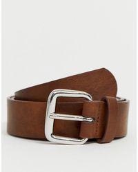 ASOS Cinturón ancho de efecto cuero en color tostado vintage con hebilla plateada - Marrón