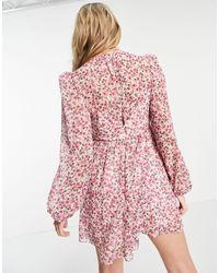 Forever New Светло-розовое Платье Мини С Защипами, Пышным Рукавом На Манжете, Оборками И Мелким Цветочным Принтом -многоцветный - Розовый