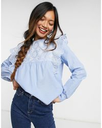 Warehouse Broderie Frill Front Top - Blue