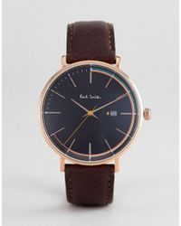 Paul Smith - Ps0070008 Track Leather Watch In Black 42mm - Lyst