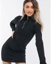 Brave Soul Zip Front Jersey Dress - Black