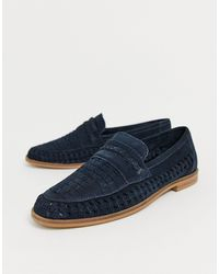 Moss Bros Moss London Suede Woven Loafer - Blue