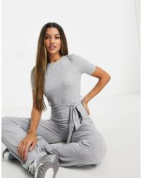 Missguided Short Sleeve Flare Leg Jumpsuit - Grey