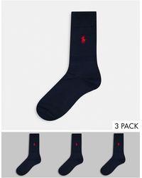 Polo Ralph Lauren Set Van 3 Sokken Van Gemerceriseerd Katoen - Blauw
