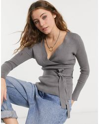 New Look Co-ord Wrap Top - Gray