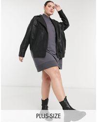 Noisy May Oversized Leather Look Jacket - Black